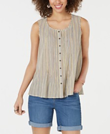 Style & Co Cotton Striped Button-Front Top, Created for Macy's