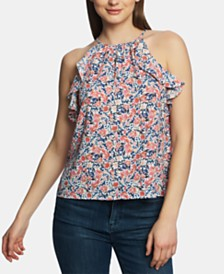 1.STATE Printed Ruffle-Trim Halter Top