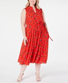Anne Klein Plus Size Floral Drawstring Midi Dress