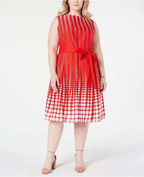 Anne Klein Plus Size Cotton Printed A-Line Dress & Reviews ...