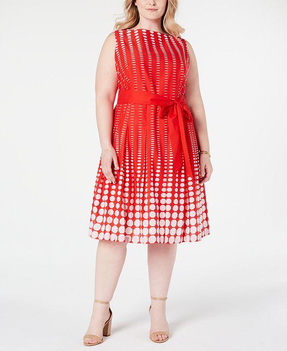 Anne Klein Plus Size Cotton Printed A-Line Dress