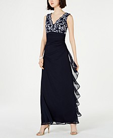 Petite Lace-Top Ruffled Gown