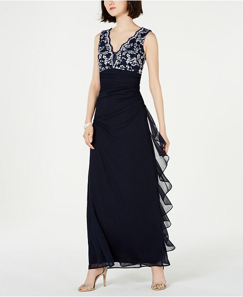 Betsy & Adam Petite Lace-Top Ruffled Gown