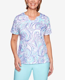 Alfred Dunner Catalina Island Appliqué-Trim Printed Top