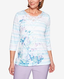 Alfred Dunner Catalina Island Printed Lace-Appliqué Top