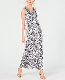 I.N.C. Petite V-Neck Ruched Maxi Dress, Created for Macy's