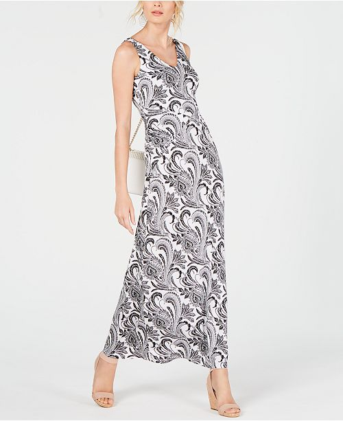 INC International Concepts I.N.C. Petite V-Neck Ruched Maxi Dress, Created for Macy's