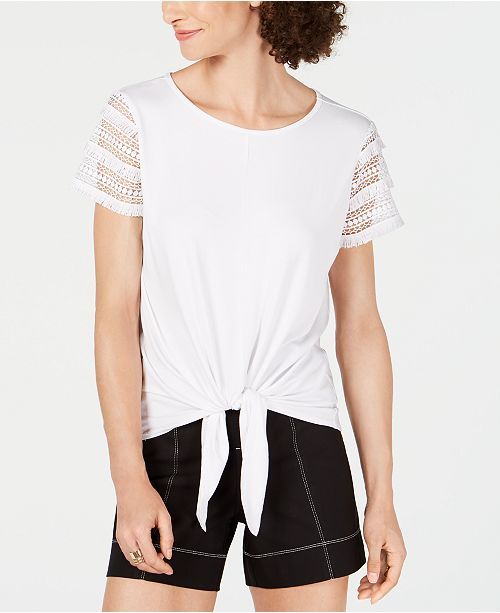 INC International Concepts I.N.C. Lace-Sleeve Tie-Front Top, Created for Macy's