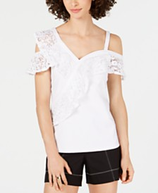 I.N.C. Lace-Ruffle Cold-Shoulder Top, Created for Macy's