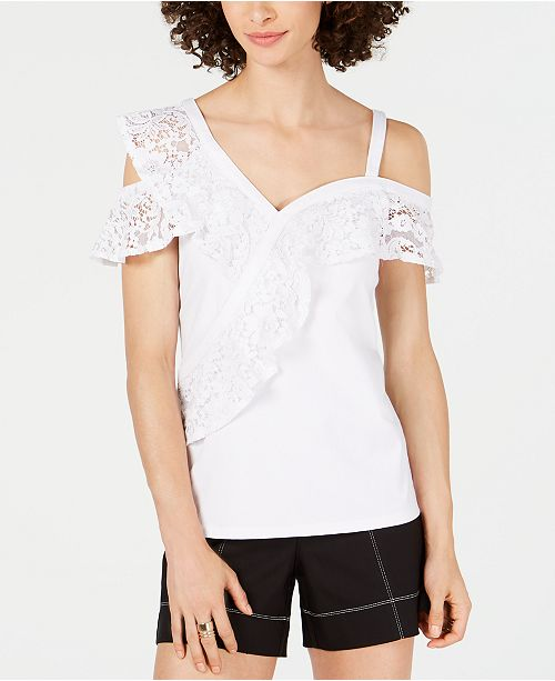 INC International Concepts I.N.C. Lace-Ruffle Cold-Shoulder Top, Created for Macy's