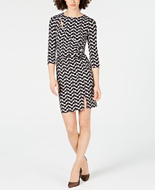 I.N.C. Petite Geo-Print Cutout Dress, Created for Macy's