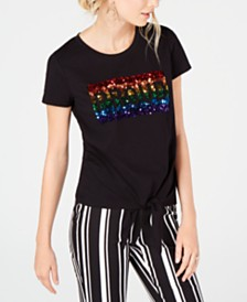 I.N.C. Proud Tie-Front Pride Rainbow Sparkle T-Shirt, Created for Macy's