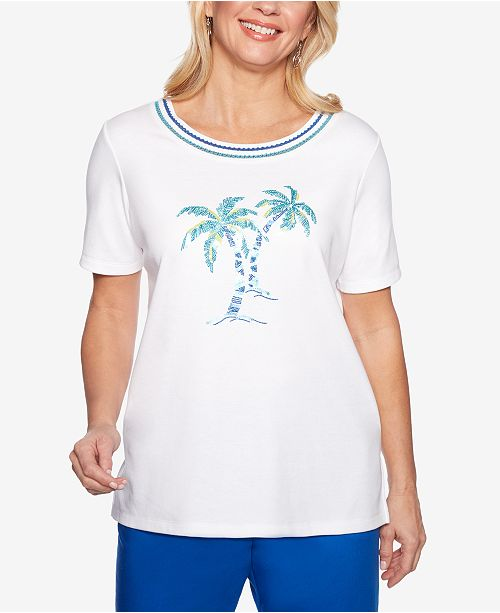 Alfred Dunner Waikiki Embroidered Sequined Top