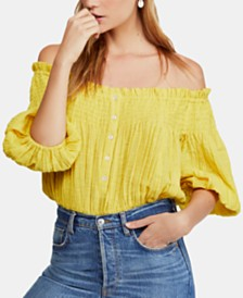 Free People Dancing Till Dawn Smocked Off-The-Shoulder Top