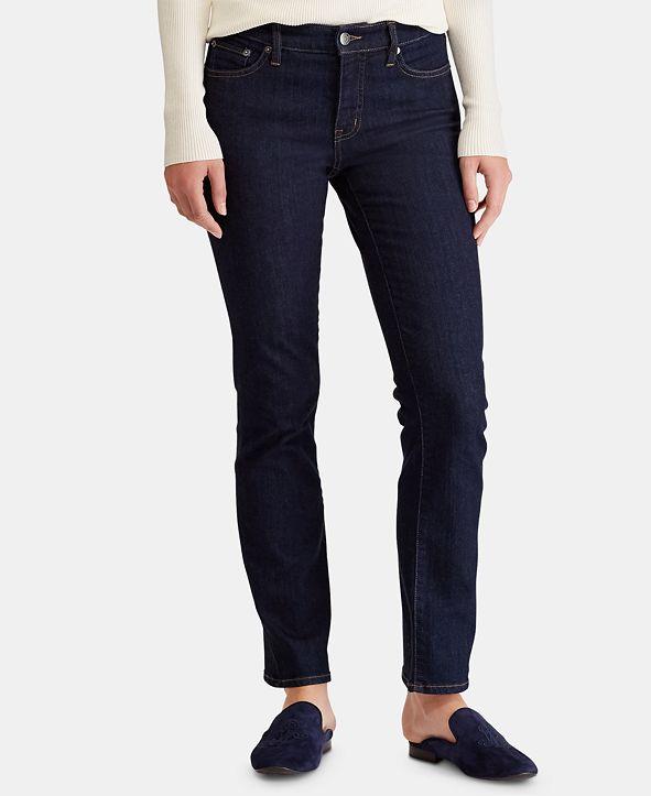 Lauren Ralph Lauren  Petite Dark Wash Modern Straight Curvy Jeans, Petite & Petite Short
