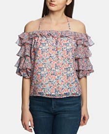 1.STATE Printed Tiered Ruffle-Sleeve Top
