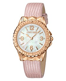 By Franck Muller Women's Swiss Quartz Pink Leather Strap Watch, 34mm