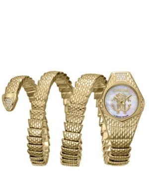 Roberto Cavalli BY FRANCK MULLER WOMEN'S DIAMOND SWISS QUARTZ GOLD-TONE STAINLESS STEEL SNAKE WRAP BRACELET, 23MM