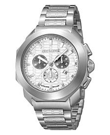 Roberto Cavalli By Franck Muller Men's Swiss Chronograph Silver Stainless Steel Bracelet Watch, 44mm
