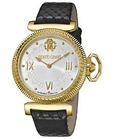 Roberto Cavalli By Franck Muller Women's Swiss Quartz Black Calfskin Leather Strap White Dial Watch, 38mm