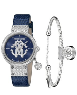 Roberto Cavalli BY FRANCK MULLER WOMEN'S SWISS QUARTZ BLUE CALFSKIN LEATHER STRAP WITH ADDITIONAL STAINLESS STEEL BR