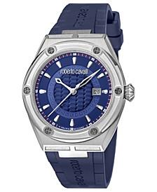 By Franck Muller Men's Swiss Quartz Blue Rubber Strap Watch, 43mm