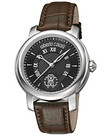 Roberto Cavalli By Franck Muller Men's Swiss Quartz Brown Calfskin Leather Strap Watch, 43mm