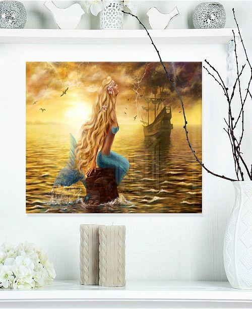 "Design Art Designart 'Sea Mermaid With Ghost Ship' Seascape Metal Wall Art - 20"" X 12"""