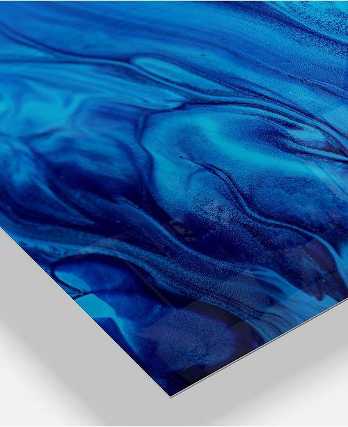 Designart Dark Blue Abstract Acrylic Paint Mix Abstract Art On Metal Wall Art Panel 20 X 12