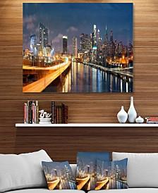 "Designart 'Philadelphia Skyline At Night' Cityscape Metal Wall Art - 40"" X 30"""