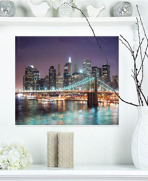 "Design Art Designart 'New York City Manhattan Skyscrapers' Cityscape Metal Wall Art - 20"" X 12"""