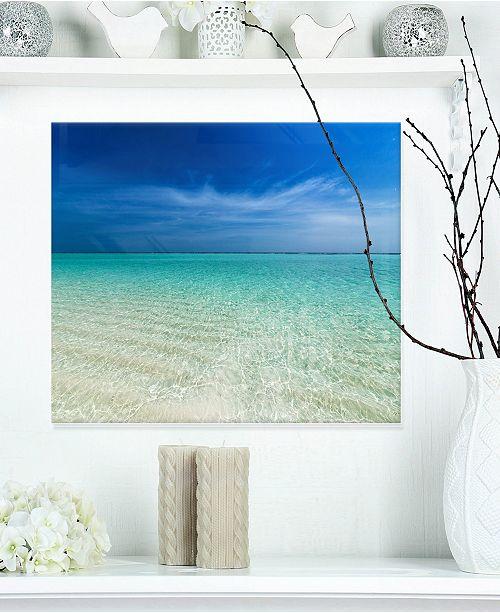 "Design Art Designart 'Turquoise Ocean Under Blue Sky' Modern Seascape Metal Artwork - 20"" X 12"""