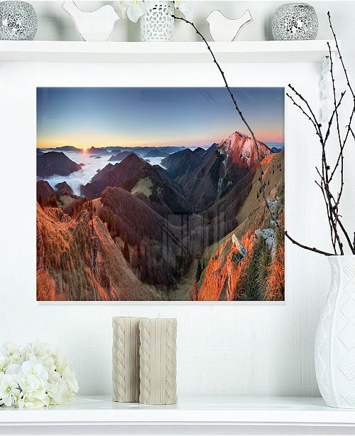 "Design Art Designart 'Red Mountain Sunset Panorama' Landscape Modern Metal Wall Art - 20"" X 12"""