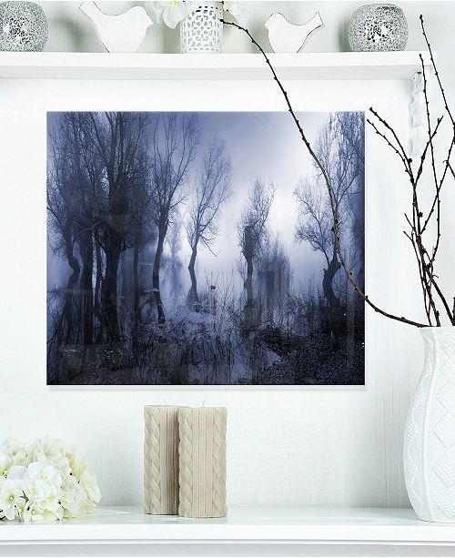 "Design Art Designart 'Creepy Landscape In Sepia Tones' Landscape Metal Wall Art - 20"" X 12"""
