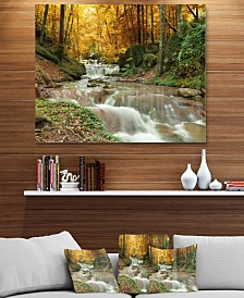 """Designart 'Forest Waterfall With Yellow Trees' Large Landscape Metal Wall Art - 40"""" X 30"""""""