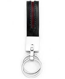 Sutton Stainless Steel Stripe Leather Double Key Ring