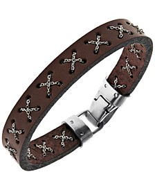 Sutton Stainless Steel Crossed Chain Brown Leather Bracelet