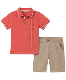 Calvin Klein Baby Boys 2-Pc. Polo Shirt & Printed Twill Shorts Set