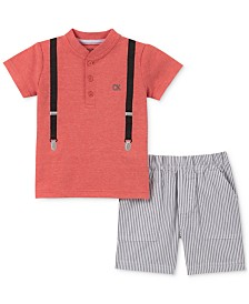 Calvin Klein Newborn and Baby Boys 2-Pc. Suspenders-Graphic T-Shirt & Striped Shorts Set