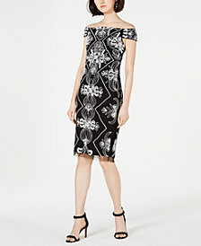 Adrianna Papell Petite Embellished Off-The-Shoulder Sheath Dress