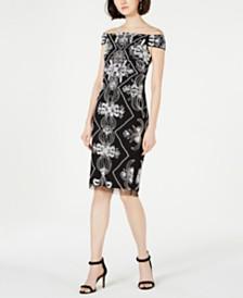 Adrianna Papell Embellished Off-The-Shoulder Sheath Dress