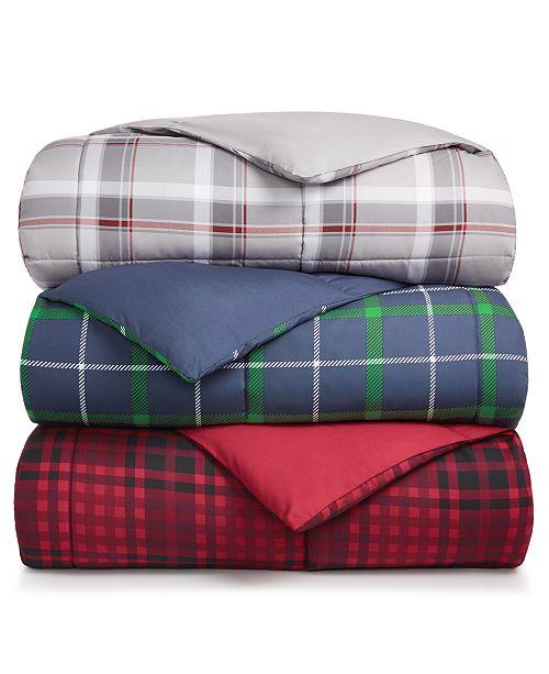 Martha Stewart Collection Martha Stewart Collection Essentials Reversible Plaid Down Alternative Comforter, Created for Macy's