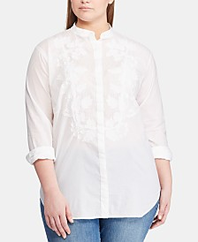 Lauren Ralph Lauren Plus Size Embroidered Cotton Shirt, Created for Macy's