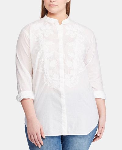 Lauren Ralph Lauren Plus Size Embroidered Cotton Shirt, Created for Macy's