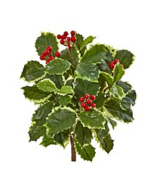 "14"" Variegated Holly Leaf Bush Artificial Plant (Set of 12) (Real Touch)"