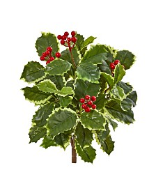 "Nearly Natural 14"" Variegated Holly Leaf Bush Artificial Plant (Set of 12) (Real Touch)"