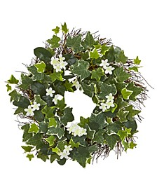 """20"""" Variegated Sage Ivy and Stephanotis Artificial Wreath"""