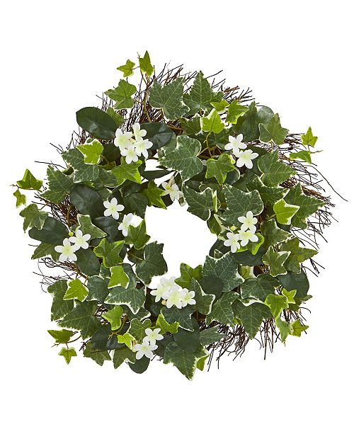 "Nearly Natural 20"" Variegated Sage Ivy and Stephanotis Artificial Wreath"