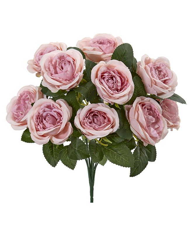 """Nearly Natural 14"""" Rose Bush Artificial Flower (Set of 6)"""