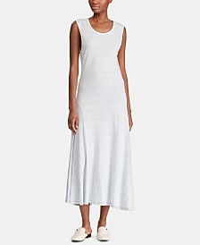 Lauren Ralph Lauren Petite A-Line Striped Cotton Dress
